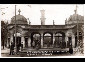 München Räterepublik 1919, Schauplatz d. Kämpfe am Stachus, ungebr. sw Foto-AK