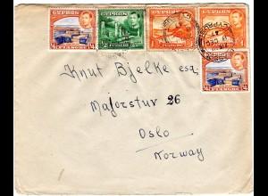 Zypern 1947, 5 Marken auf attraktivem Brief v. Limassol n. Oslo, Norwegen.