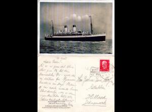 Deutsche Schiffspost Hamburg Südamerika Monte Pascoal HSDG auf Karte m. 15 Pf.