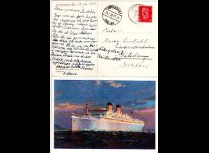 Deutsche Seepost Hamburg Ostafrika Linie O auf Karte m. 15 Pf.