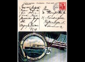 DR 1909, Deutsch-Amerikanische Seepost Bremen New-York X auf Karte m. 10 Pf.