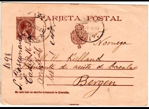 Spanien 1898, 10 C. Ganzsache v. Cadiz n. Norwegen.
