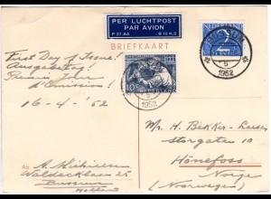 NL 1952, 2+10 C. auf FDC Luftpost Karte v. Bussum n. Norwegen.