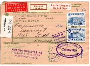 Schweden 1969, MeF 2x5 Kr. Königsschloss auf Express Paketkarte v. Göteborg.