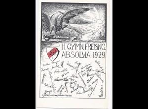 Freising, alte Studentica AK v. 1929, H(ofmiller) Gymn(asium). (#526)