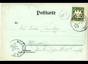 Bayern 1898, K1 STARNBERG DAMPFSCHIFFSPOST C III klar auf AK m. 5 Pf.