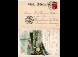 DR 1895, Deutsch-Amerikanische Seepost Hamburg New-York c auf Karte m. 10 Pf.