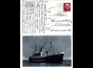 DR 1939, Deutsch-Amerikanische Seepost Hamburg New-York, Karte Dampfer New York