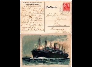 DR 1911, Deutsche Seepost Linie Hamburg New-York XIII. auf Karte m. 10 Pf
