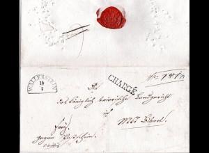 Bayern 1848, roter K2 AUSLAGE VON AUGSBURG auf Porto Brief v. Lahr, Baden