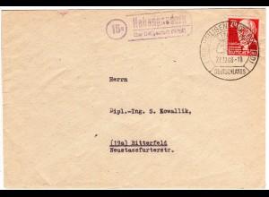 1948, Landpost Stpl. 15a HOHENGANDERN über Heiligenstadt auf Brief m. 24 Pf