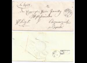 Preussen, K2 Breslau auf Brief m. rücks. Bahnpost Stpl. Breslau Myslowitz.#1074
