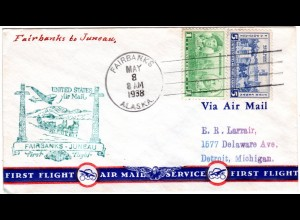 USA 1938, 1+6 C. on Alaska first flight cover from Fairbanks to Juneau