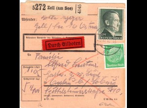DR 1942, 5 Pf.+1 Mk. auf Ostmark Eilboten Paketkarte v. Zell am See