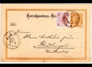 Österreich 1900, Mischfrankatur 1 H. auf 2 Kr. Ganzsache v. GIESSHÜBL SAUERBRUNN