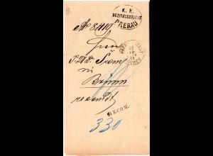 Österreich 1881, K1 PRERAU STADT u. L1 RECOM. auf Einschreiben Gerichts Brief