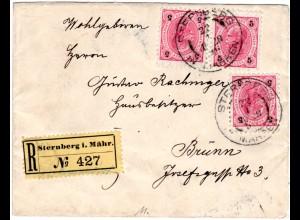 Österreich 1896, 3x5 Kr. auf Einschreiben Brief v. STERNBERG IN MÄHREN