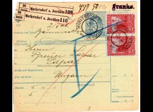 Österreich 1914, Paar 60 H. auf Paketkarte v. Markersdorf am Jeschken n. Ungarn.