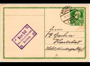 Österreich 1919, 5 H. Ganzsache v. BOCHNIA m. Firmenstpl. Mayer Wolf Eier-Export