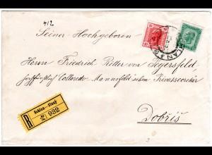 Österreich 1906, 10+35 H. auf Einschreiben Brief v. SCHLAN