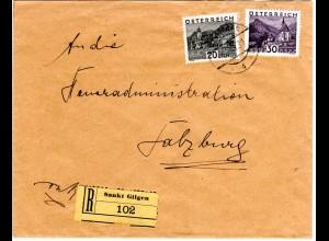 Österreich 1931, 20+30 H. auf Einschreiben Brief v. Sankt Gilgen