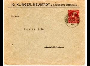 Österreich 1918, 10 H. Privatganzsache Brief m. Bahnpost Heinersdorf-Friedland