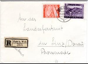 Österreich 1947, 1 S.+40 G. auf Einschreiben Brief v. PICHL b. Wels