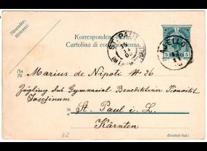 Österreich 1905, Küstenland-K1 AJELLO auf 5 H. Ganzsache n. St. Paul Lavantthale
