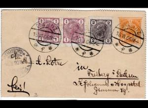 Österreich 1906, 2+Paar 1 H. Zusatzfr. auf 6 H. Kartenbrief v. Graslitz Böhmen