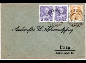 Österreich 1908, 6+Paar 2 H. auf Brief m. 2-sprachigem K2 TREMLES STRMILOV