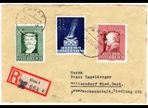 Österreich 1948, Reko-Zettel m. überstempelter PLZ auf GRAZ Einschreiben Brief