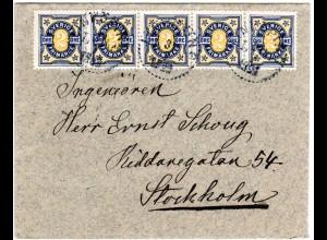 Schweden 1906, MeF 5er-Streifen 2 öre auf Brief v. LINKÖPING