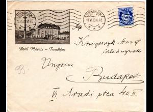 Norwegen 1923, Bilder Brief Trondhjem Hotel Phoenix m. 40 öre n. Ungarn