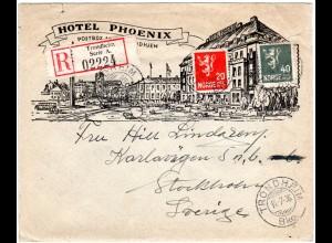 Norwegen 1936, Reko Bilder Brief Trondhjem Hotel Phoenix m 20+40 öre n. Schweden