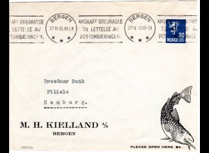 Norwegen 1933, EF 30 öre auf illustriertem Firmen Brief v. Bergen n. Hamburg