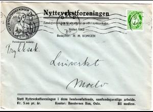 Norwegen 1935, 7 öre auf Nyttevekstforeningen Firmen Drucksache Brief v. Oslo