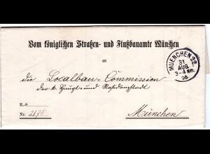 Bayern 1896, K1 MUENCHEN 22 auf Brief des Straßen-u. Flußbauamtes