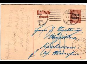 """Bayern 1920, 15 Pf. Antwort-Ganzsache v. Nürnberg 7.5. m. Porto """"30"""" Pf."""