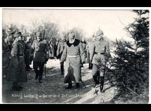 König Ludwig u. General von Strantz, 1916 m. FP gebr. Militaria-AK