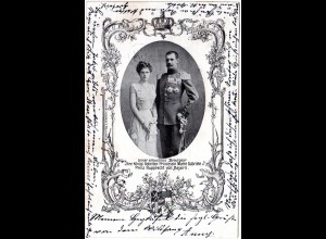 Brautpaar Marie Gabriele u. Prinz Rupprecht v. Bayern, 1900 gebr. sw-AK