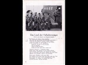 Das Lied der Fallschirmspringer, ungebr. sw-AK m. Soldaten u. Flugzeug JU 52