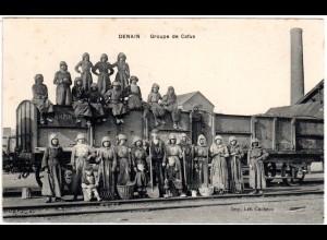 Denain, Groupe de Cafus, 1915 per Bayern-FP gebr. sw-AK m. Eisenbahn