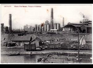FP WK I 1915, DENAIN sw-AK m. Hochofen u. Eisenbahn Güterzug