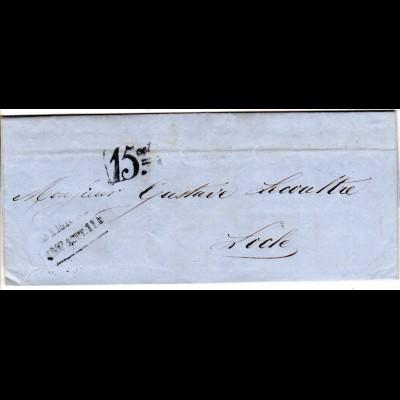 Schweiz 1857, Portostpl. 15cts auf Brief v. Bienne n. Locle