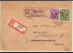 1945, Landpost Stpl. 24 RIEPSDORF über Lensahn auf Reko Brief m. 12+30 Pf.