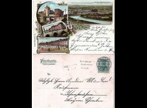 Bayern 1903, Aushilfs-L2 ICHENHAUSEN als Ankunftstpl. auf Metz Litho-AK