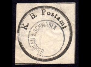 Bayern, K.B. Postamt Verschluss-Siegel m. K1 BURGAU 1 SCHWABEN