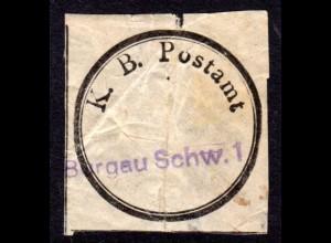 Bayern, K.B. Postamt Verschluss-Siegel m. blauem L1 BURGAU SCHW. 1