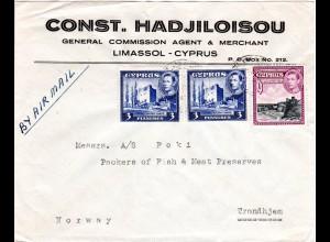Zypern 1950, 9+2x3 Pia. auf Luftpost Firmen Brief v. Limassol n. Norwegen.