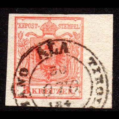 Österreich, breitrandige 3 Kr. m. rechtem Bogenrand u. K2 ALA TIROLO ITALIANO
